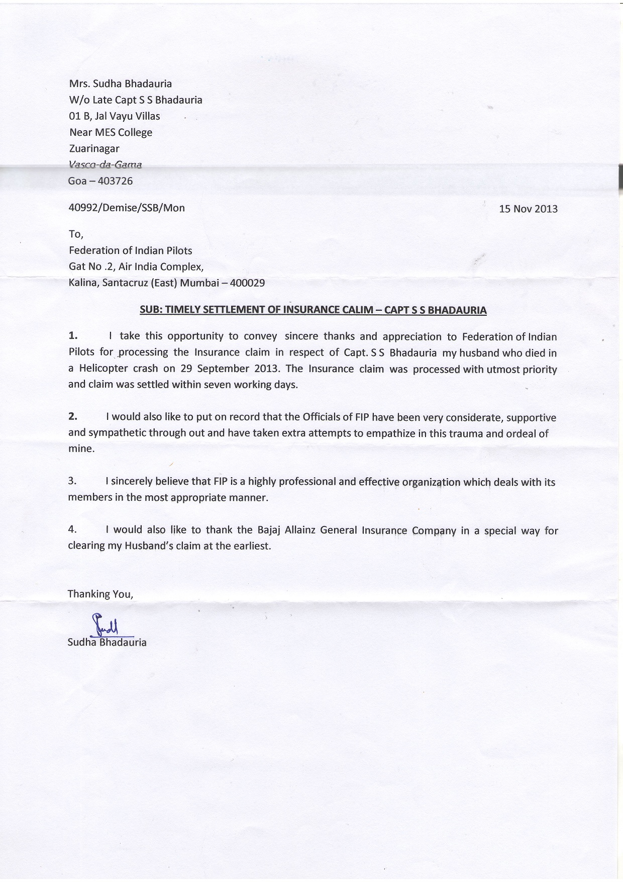 Letter from Mrs.Sudha Bhadauria W/o Late Capt.S.S.Bhadauria