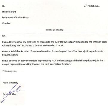 Letter from Capt.Faisal Khan