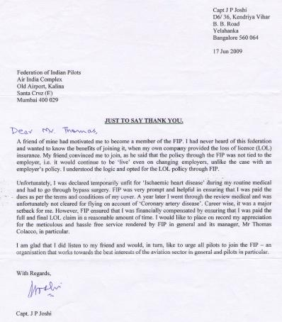 Letter from Capt.J.P.Joshi