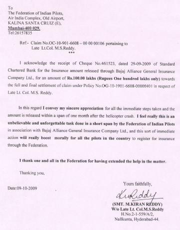 Letter from Smt.M.Kiran Reddy W/o Late Lt.Col. M.S.Reddy